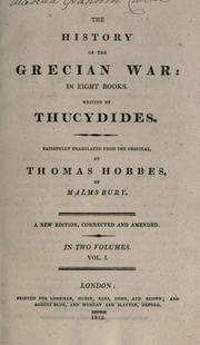Cover of: The history of the Grecian war, in eight books by Thucydides
