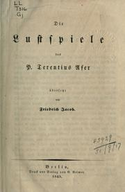 Cover of: Die Lustspiele by Terence.