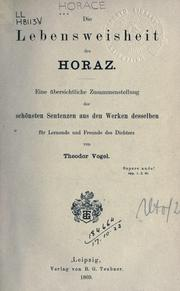 Cover of: Die Lebensweisheit des Horaz by Horace