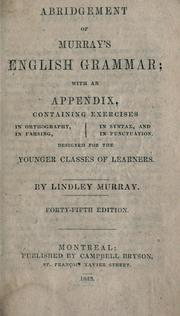 Cover of: Abridgement of Murray&#39;s English grammar by Murray, Lindley