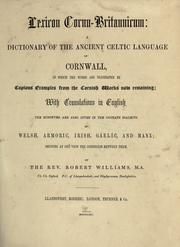 Cover of: Lexicon cornu-britannicum by Williams, Robert