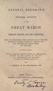 Cover of: General Sherman&#39;s official account of his great march through Georgia and the Carolinas by William T. Sherman