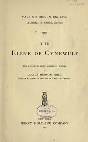 Cover of: Elene by Cynewulf.