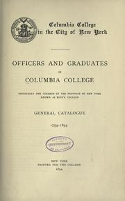Cover of: Officers and graduates of Columbia college by Columbia University.