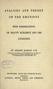 Cover of: Analysis and theory of the emotions by Ramsay, George