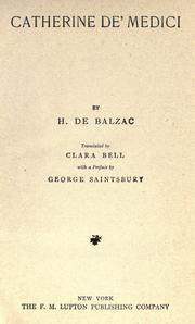 Cover of: Catherine De Medici by Honoré de Balzac