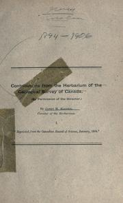 Cover of: Contributions from the herbarium of the Geological Survey of Canada by James M. Macoun