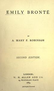 Cover of: Emily Bronte by Agnes Mary Frances Robinson