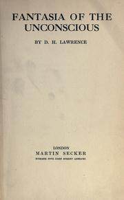 Cover of: Fantasia of the unconscious by D. H. Lawrence