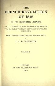 Cover of: The French Revolution of 1848 in its economic aspect by Marriott, J. A. R. Sir