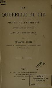 Cover of: La querelle du Cid by Armand Gasté