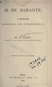 Cover of: M. de Barante by Guizot M.