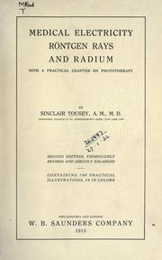 Cover of: Medical electricity, Rntgen rays and radium by Tousey, Sinclair