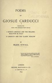 Cover of: Poems of Giosu Carducci by Giosu Carducci