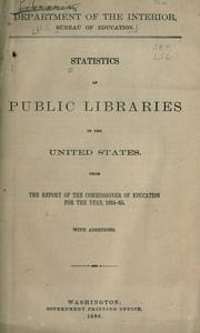 Cover of: Statistics of public libraries in the United States by United States. Office of Education.