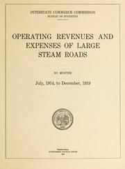 Cover of: Operating revenues and expenses of large steam roads by months, July, 1914, to December, 1919 by United States. Interstate Commerce Commission. Bureau of Transport Economics and Statistics.
