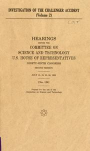 Cover of: Investigation of the Challenger accident by United States. Congress. House. Committee on Science and Technology.