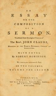 Cover of: Traité de la composition d'un sermon by Jean Claude