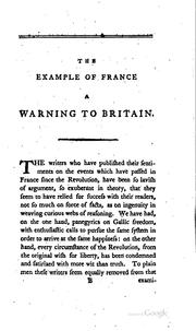 Cover of: The example of France a warning to Britain by Young, Arthur