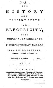 Cover of: The history and present state of electricity by Priestley, Joseph