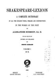 Cover of: Shakespeare-lexicon by Schmidt, Alexander