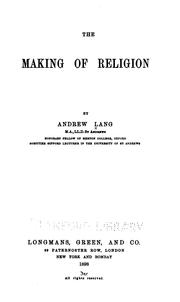 Cover of: The Making of Religion by Andrew Lang