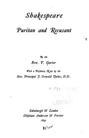 Cover of: Shakespeare, Puritan and recusant by Thomas Carter