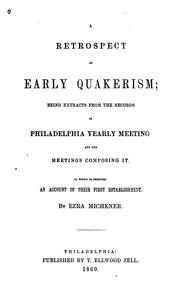 Cover of: A Retrospect Of Early Quakerism by Ezra Michener
