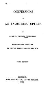 Cover of: Confessions of an inquiring spirit by Samuel Taylor Coleridge