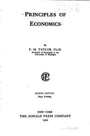 Cover of: Principles of economics by F. M. Taylor