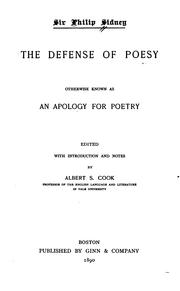 Cover of: The defense of poesy, otherwise known as An apology for poetry by Sidney, Philip Sir