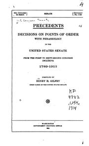 Cover of: Precedents by United States. Congress. Senate