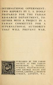 Cover of: International government by Leonard Woolf