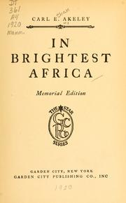 Cover of: In brightest Africa by Carl Ethan Akeley