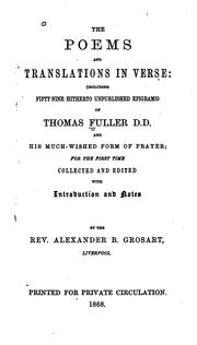 Cover of: The poems and translations in verse by Thomas Fuller