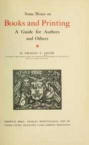 Cover of: On the making and issuing of books by Charles Thomas Jacobi
