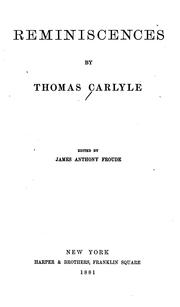 Cover of: Reminiscences by Thomas Carlyle