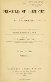 Cover of: The principles of chemistry by Dmitry Ivanovich Mendeleyev