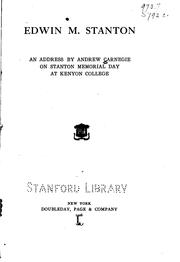 Cover of: Edwin M. Stanton by Andrew Carnegie