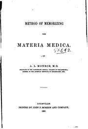 Cover of: Method of memorizing the materia medica by Andrew Leight Monroe