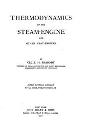 Cover of: Thermodynamics of the steam-engine and other heat-engines by Peabody, Cecil Hobart