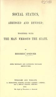 Cover of: Social statics by Herbert Spencer