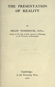Cover of: The presentation of reality by Wodehouse, Helen