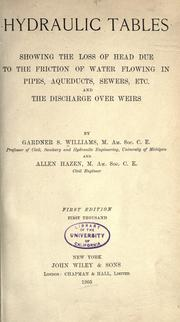 Cover of: Hydraulic tables by Gardner Stewart Williams