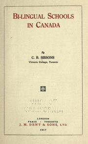 Cover of: Bi-lingual schools in Canada by Charles Bruce Sissons