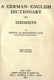 Cover of: A German-English dictionary for chemists by Austin M. Patterson