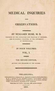 Cover of: Medical inquiries and observations by Rush, Benjamin