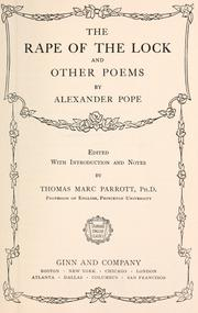 Cover of: The rape of the lock by Alexander Pope