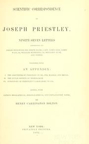 Cover of: Scientific correspondence of Joseph Priestley by Priestley, Joseph