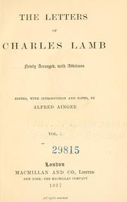 Cover of: The letters of Charles Lamb by Charles Lamb